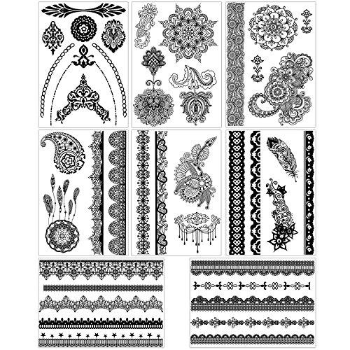 - BMC 8 Sheet Set Ornate Lace Shaped Black Color Temporary Body Art Tattoos