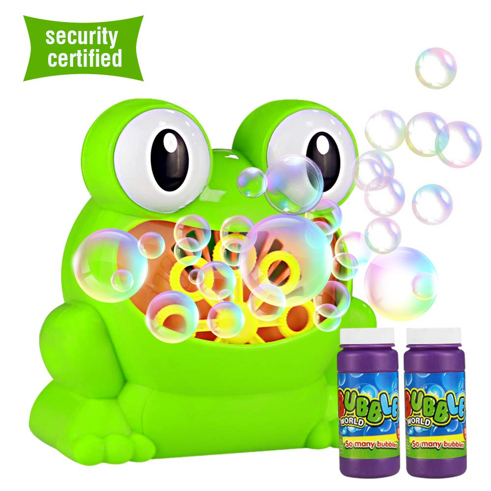 HENZIN Bubble Machine, Automatic Frog Bubble Blower Portable Bubble maker Over 500 Bubbles per Minute for Kids, for Christmas, Parties and Wedding, with Bubble Solution (2x120ml)