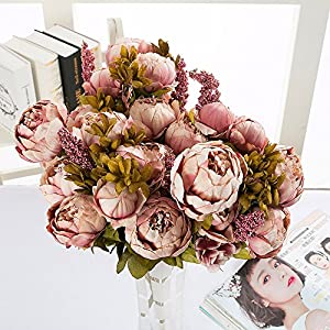 Coohole-Love and Gift Vintage Artificial Peony Silk Flowers Bouquet Wedding Party Decor Cameo Brown x2 39