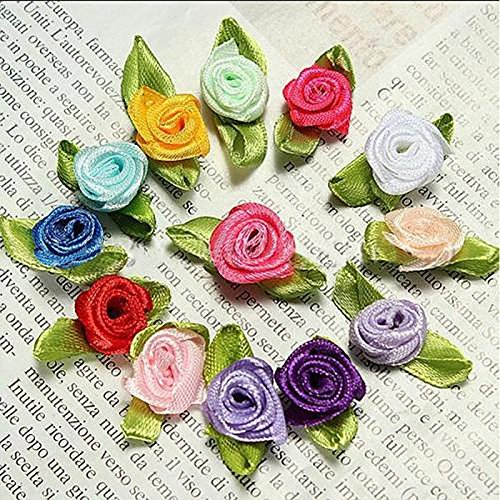 Jia Jia Trade 100pcs Satin Ribbon Rose Flower Mini Wedding Appliques (Multicolor)