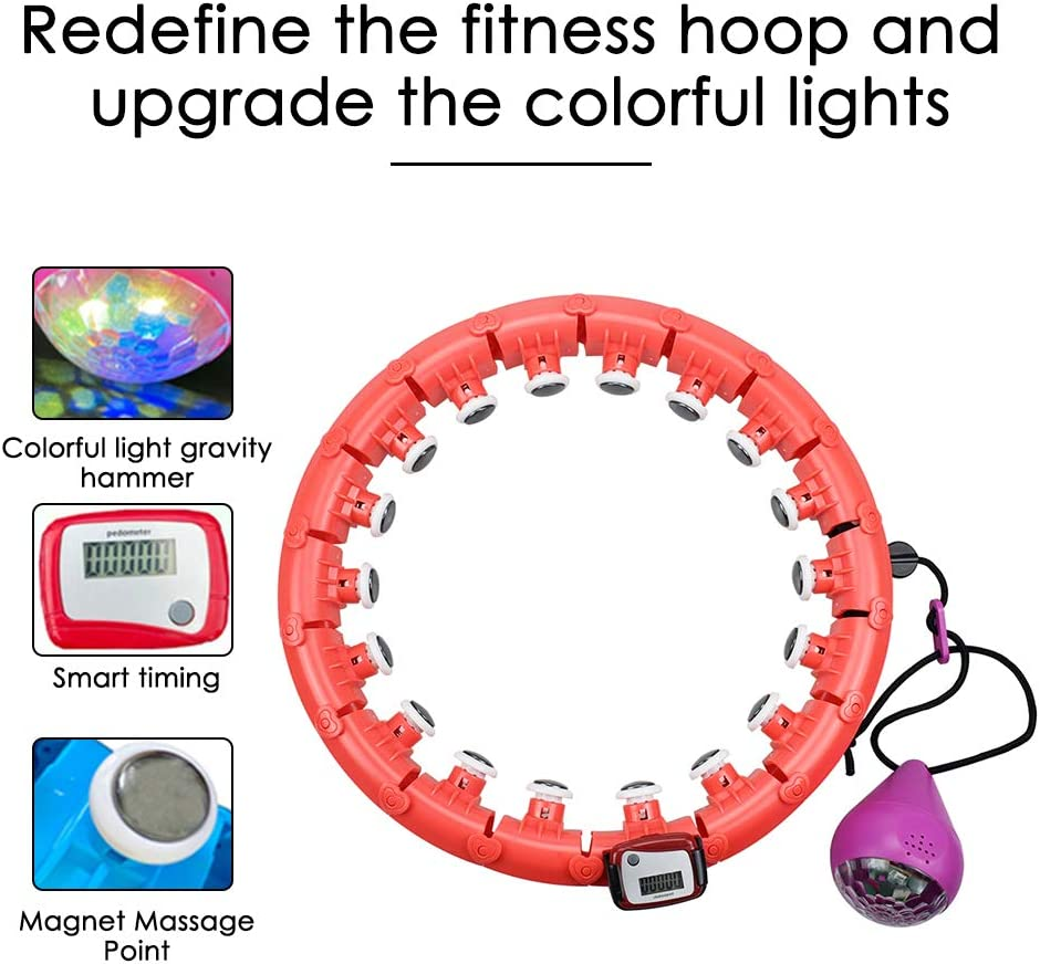 TOPQSC Hula Hoop Fitness Masaje de neum/áticos Smart Hula Hoops No Cae Yoga Hula Hoop Artefacto de p/érdida de peso Equipo deportivo adecuado para adultos y ni/ños//24 nudos