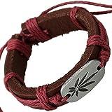 Cameleon-Shop - Bracelet Extensible - Cuir Marron - Feuille Cannabis - Cordon Couleur Cassis - Réglable 15,5-28,5cm