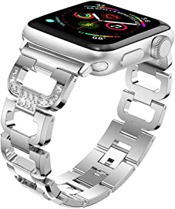 Maxjoy Compatible with Apple Watch Band, 38mm 40mm Women Metal Replacement Diamond Rhinestone Wristband Bracelet Strap Compatible with Apple iWatch Series SE 6 5 4 3 2 1 Sport Edition, Silver