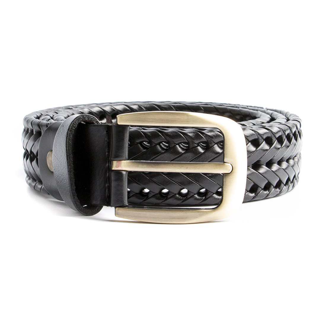 ECHAIN Women Braided Woven Genuine Leather Belt