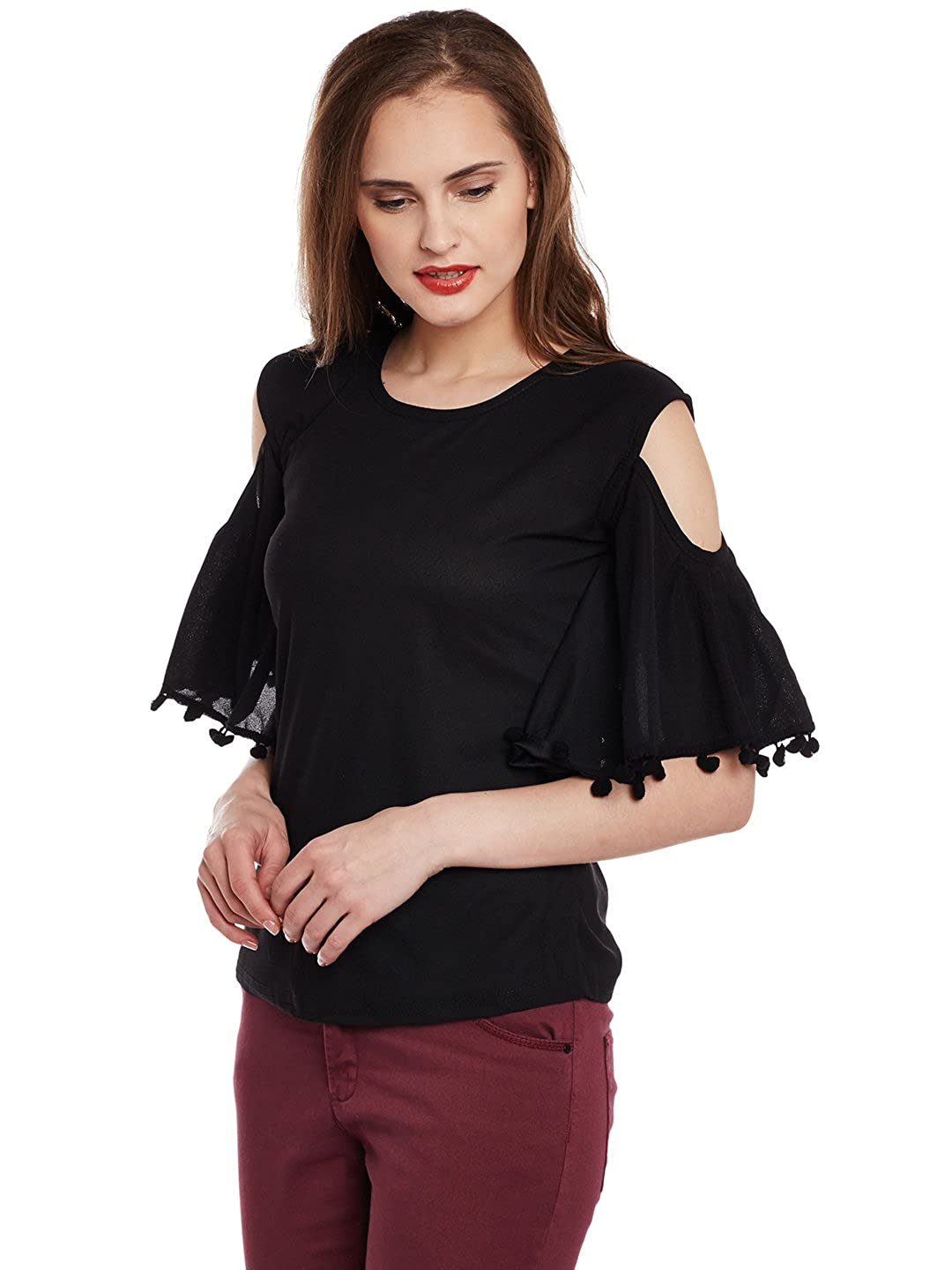 3e96b740de8f8e ANTS Black Solid Cut Shoulder with Latkan Top for Women  Amazon.in  Clothing    Accessories