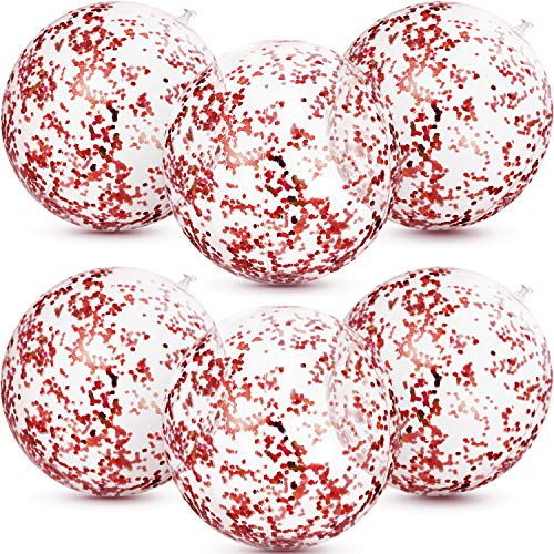 6 Pieces Inflatable Glitter Beach Ball Confetti Beach Balls Transparent Swimming Pool Party Ball for Summer Beach Water Play Toy, Pool and Party Favor, 16 Inch (Rose Gold)