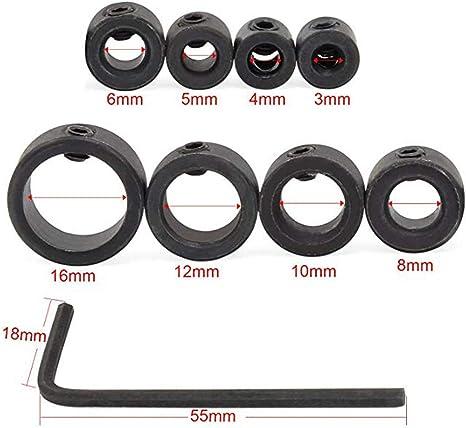 Collier de but/ée de profondeur 12 pi/èces 3-16 mm en acier inoxydable foret en acier inoxydable collier de but/ée de profondeur