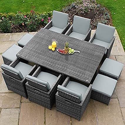 9bad88f1fa01 Maze Rattan Outdoor Garden Furniture 6 Seat Deluxe Cube Grey Rattan Dining  Set with Footstools: Amazon.co.uk: Kitchen & Home