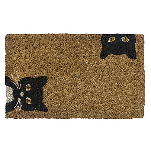 Entryways Peeping Cats Hand-Stenciled, All-Natural Coconut Fiber Coir Doormat,  18