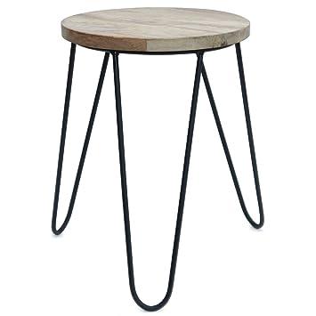 Hocker modern schwarz  Beistelltisch Hocker | Mango-Holz mit Eisen | natur braun schwarz ...