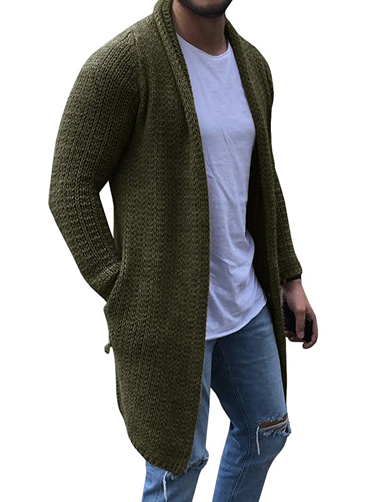 64aa070749d This open front long cardigan sweater for men is made of thick knitted  acrylic and cotton fabric