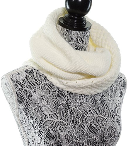 Chunky Infinity Scarf Soft Warm Cozy Scarfs for Women Circle Knit Winter Scarves - Off White](Silk Triangle Head Scarf)