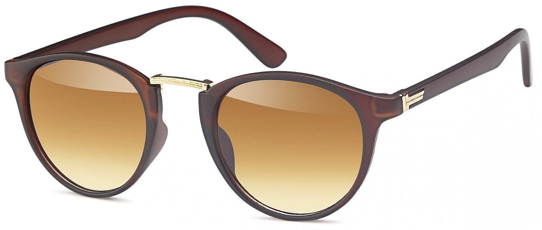 styleBREAKER Piloten Sonnenbrille mit lackiertem Rahmen, Aviatorbrille, Pilotenbrille, Unisex 09020080, Farbe:Gestell Braun-Gold / Glas Braun Verlauf
