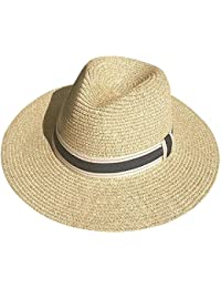 d36afb6d2c6bb Womens UPF50 Foldable Summer Straw Hat Wide Brim Fedora Sun Beach hat