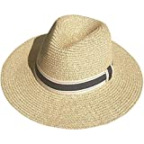 JOYEBUY Womens UPF50 Foldable Summer Straw Hat Wide Brim Fedora Sun Beach hat (Style F-Beige)