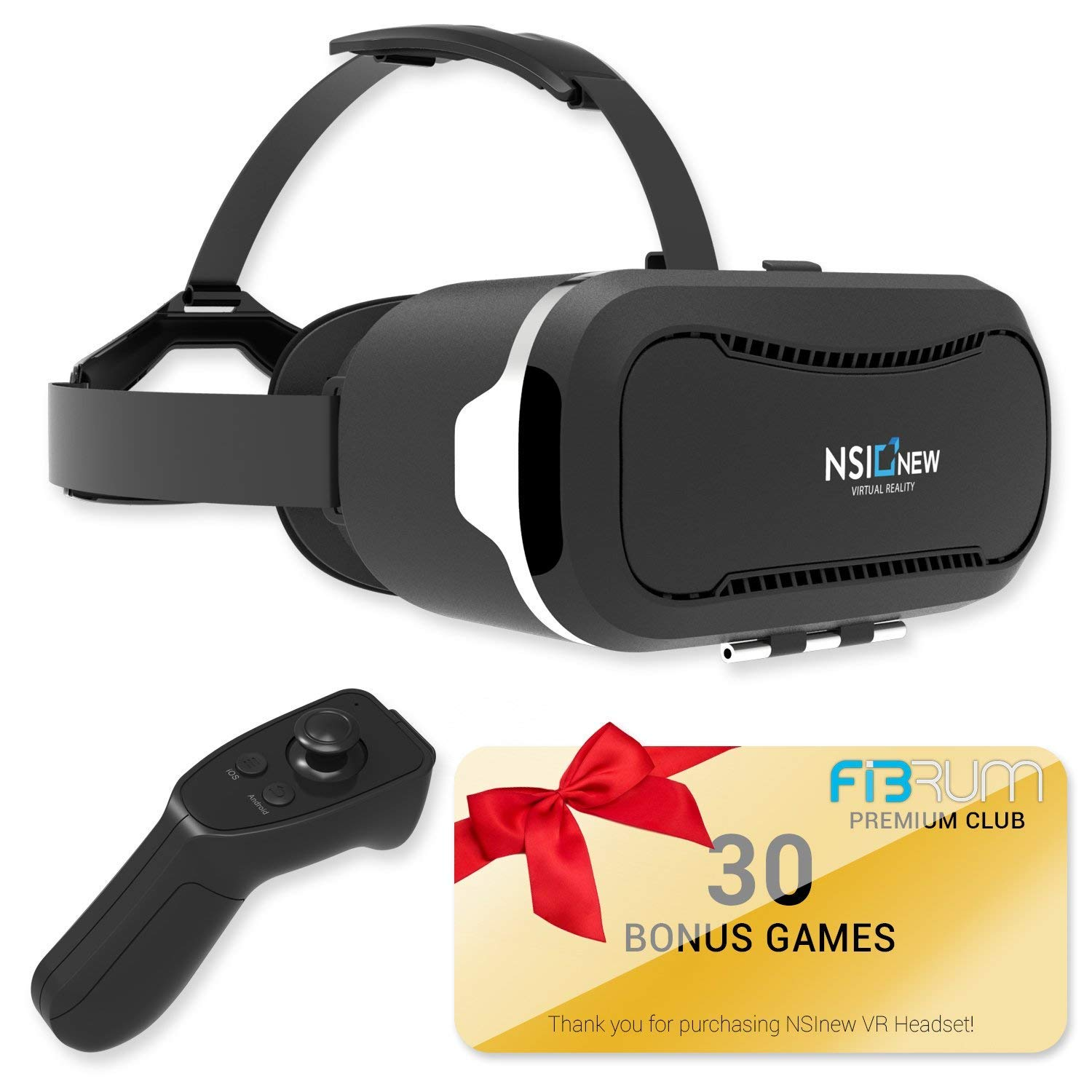 Virtual Reality Headset Over 30 VR Apps & Bluetooth Remote Included with VR Headset - Compatible with Apple & Android Phones from 4-6' Size -360° VR Goggles for 3D Games NSInew vr-30564