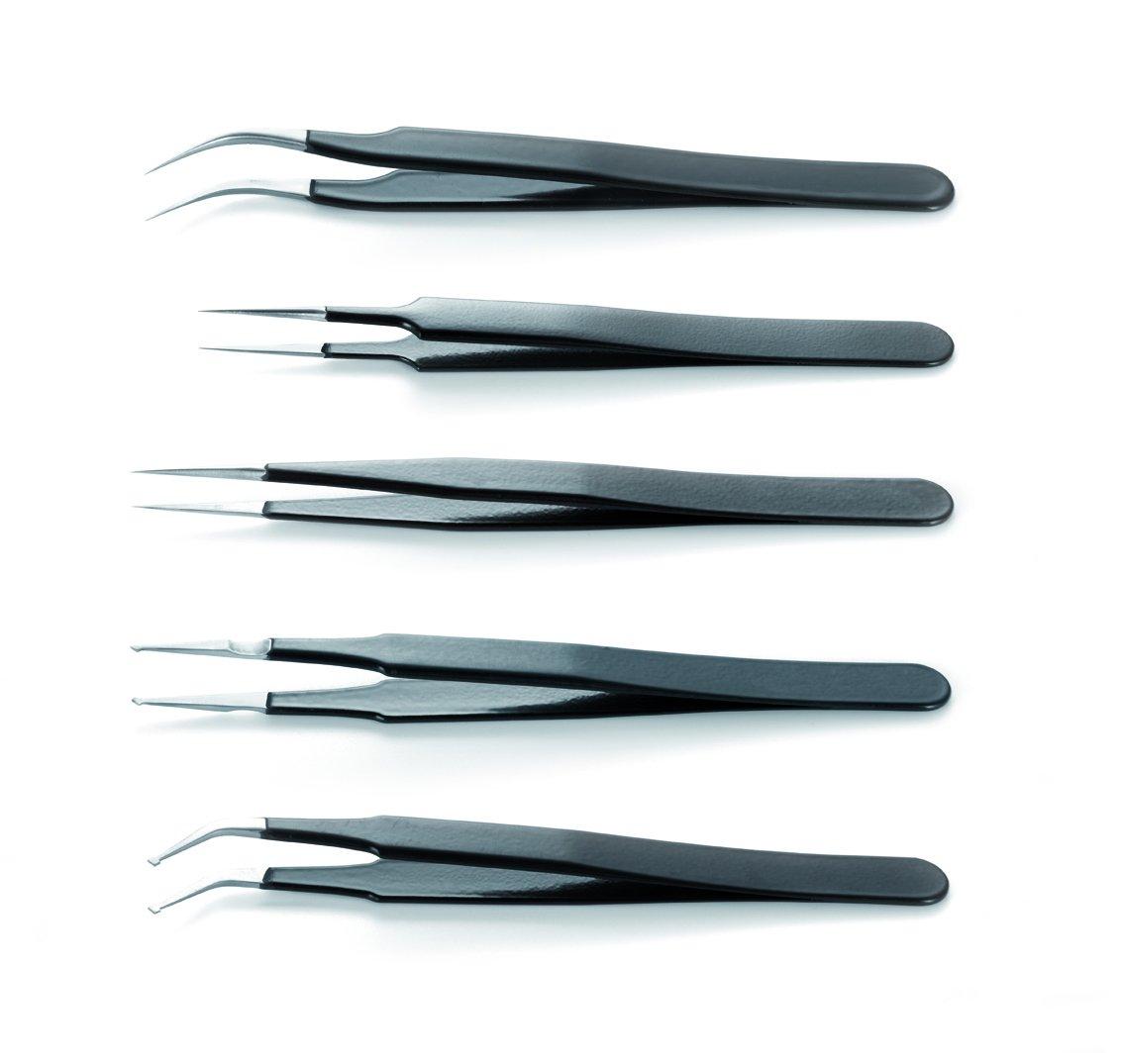 ESD Epoxy Coated Tweezers Kit Of 6