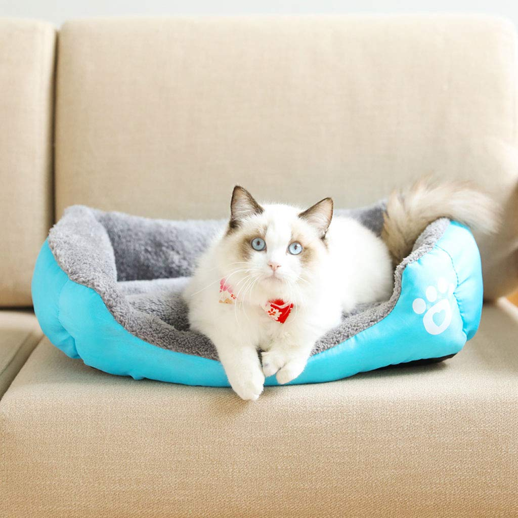 bluee 80x65x17cm bluee 80x65x17cm YangMi pet bed- Kennel Cat Litter Large Medium Dog Winter Warm Thick Cat Litter Pet Labrador Autumn And Winter Dog Mat Dog Bed (color   bluee, Size   80x65x17cm)