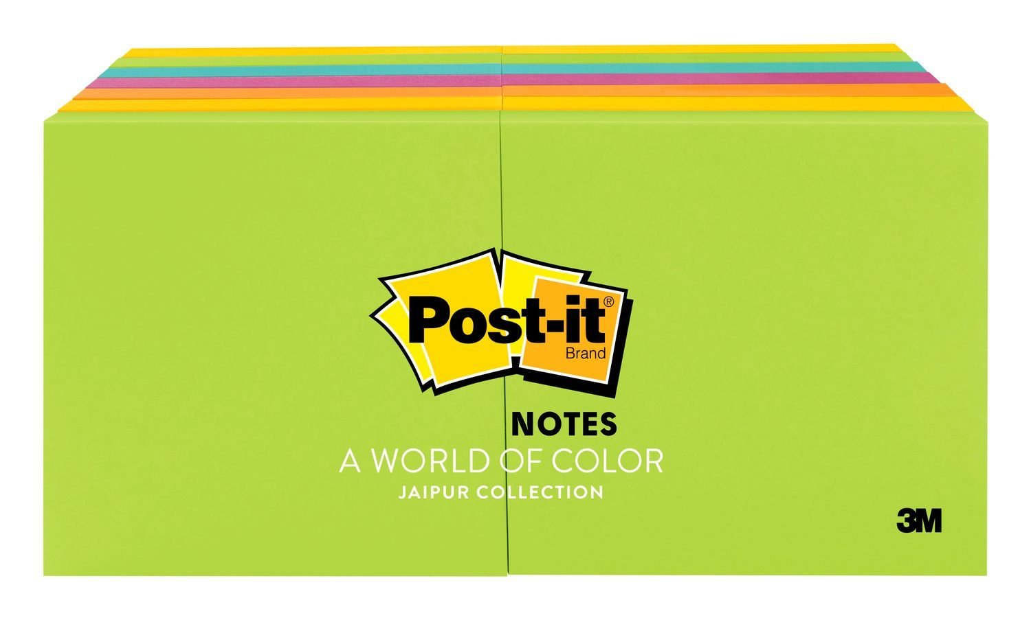 Post-it Notes, America's #1 Favorite Sticky Note, 3 in x 3 in, Jaipur Collection, 14 Pads/Pack, 100 Sheets/Pad (654-14AU)