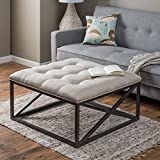 Cushion Ottoman Coffee Table Tufted Grayson Coffee Table Ottoman, Thick Cushion in Linen/Cotton over Powder Coated Frame