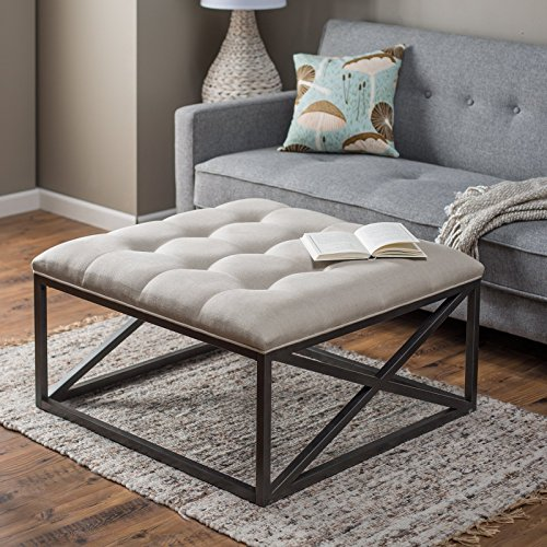 Tufted Grayson Coffee Table Ottoman, Thick Cushion in Linen Cotton over Powder Coated Frame