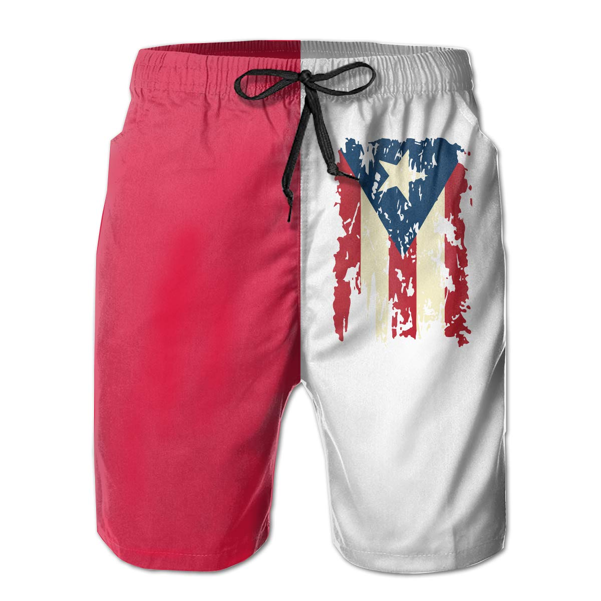 Polyester Vintage Puerto Rico Flag Board Shorts with Pockets Mens Athletic Swim Trunks