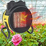 DMCSHOP Electric Greenhouse Heater - Garage Fan Heater, Portable Space Heater Adjustable Thermostat, for Grow Tent, Office, Workplace, PTC Fast Heating, Overheat Protection, Metal Base