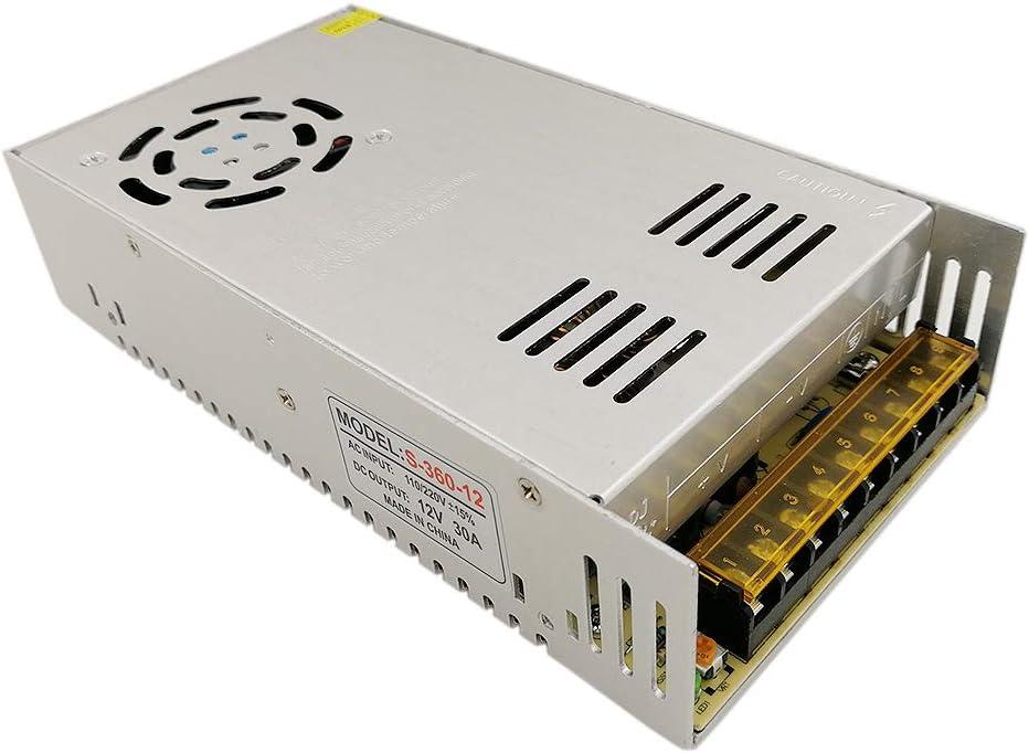 JOYLIT 360W Transformador de Voltage Alimentación de Interruptor AC 220V a 12V DC 30A Fuente de Alimentación para Tira de LED