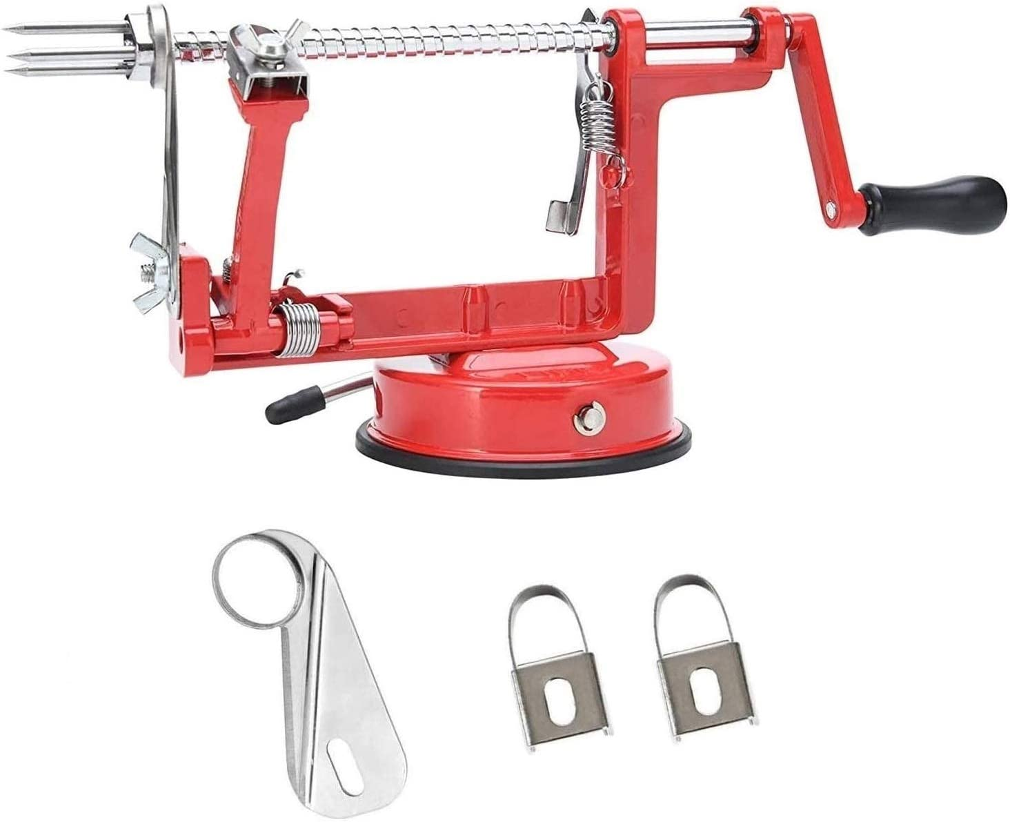 Rovello 3-in-1 Apple Potato Peeler Corer Slicer Machine with Powerful Vacuum Base and Wedge Cutter