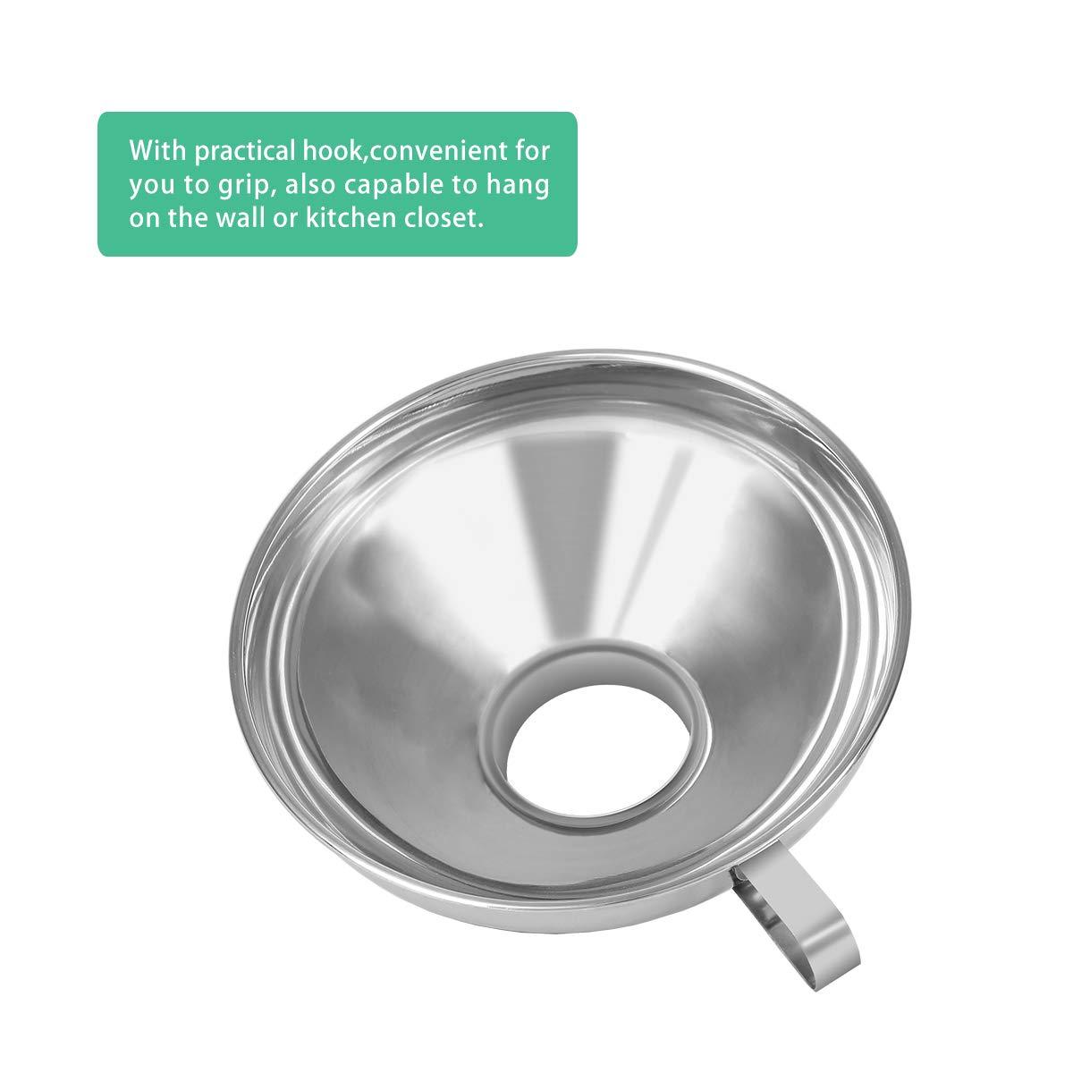 in acciaio inox Imbuto per canning piccolo e grande fagioli in polvere e marmellata per trasferire olio fluido 2 pezzi a bocca larga argento