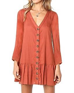72f637f5645d Huiyuzhi Womens V Neck Button Down Shirt Dresses Long Sleeve Ruffles Midi  Skater Dress with Pockets