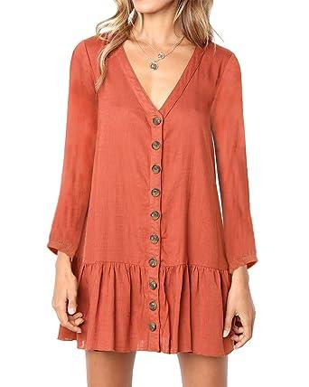 be4d01f8889 Huiyuzhi Womens Ruffles Short Sleeve V Neck Button Down Shirt Dresses  Summer Short Dress (S