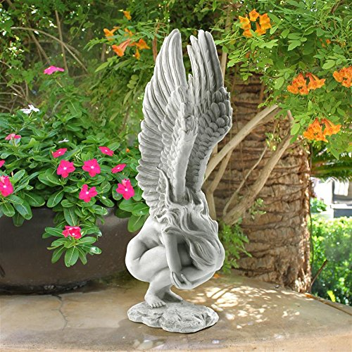 Design Toscano Remembrance and Redemption Angel Religious Garden Statue, Medium 15 Inch, Polyresin, Antique Stone
