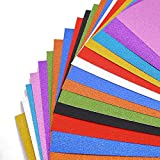 Glitter Cardstock Paper, 20 Sheets Sparkly Paper Premium Craft Cardstock for DIY Gift Box Wrapping Birthday Party Decor Scrapbook, 10 Colors 250gms