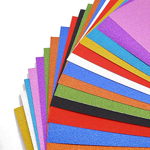 20 Sheets Mixed Colors Glitter Cardstock, Sparkle A4 Paper, 250gms Premium Craft Cardstock for Card, DIY Crafts, Gift Box Wrapping