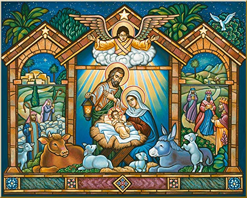 "(Monastery Icons ""Come Let Us Adore"" Nativity of Christ Mounted Plaque Christmas Icon Reproduction 10"