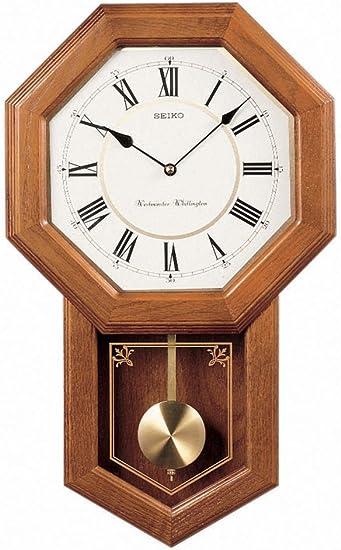 Seiko Light Oak Traditional Schoolhouse Wall Clock with Chime Pendulum