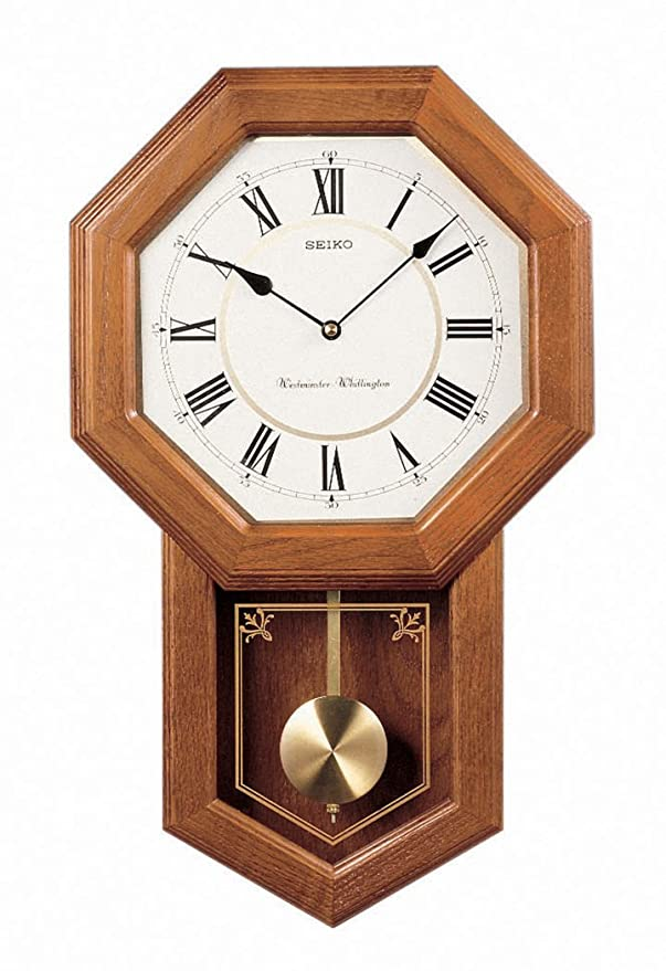 Amazon seiko wall pendulum schoolhouse clock dark brown solid amazon seiko wall pendulum schoolhouse clock dark brown solid oak case watches aloadofball Choice Image