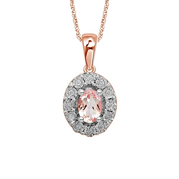 Bevilles 9ct Rose Gold Diamond Set Oval Morganite Necklace Pendant