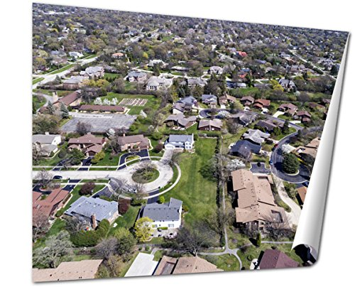 Ashley Giclee Fine Art Print, Aerial View Of Suburban Neighborhood With Culdesac, 16x20, - Illinois Court Northbrook