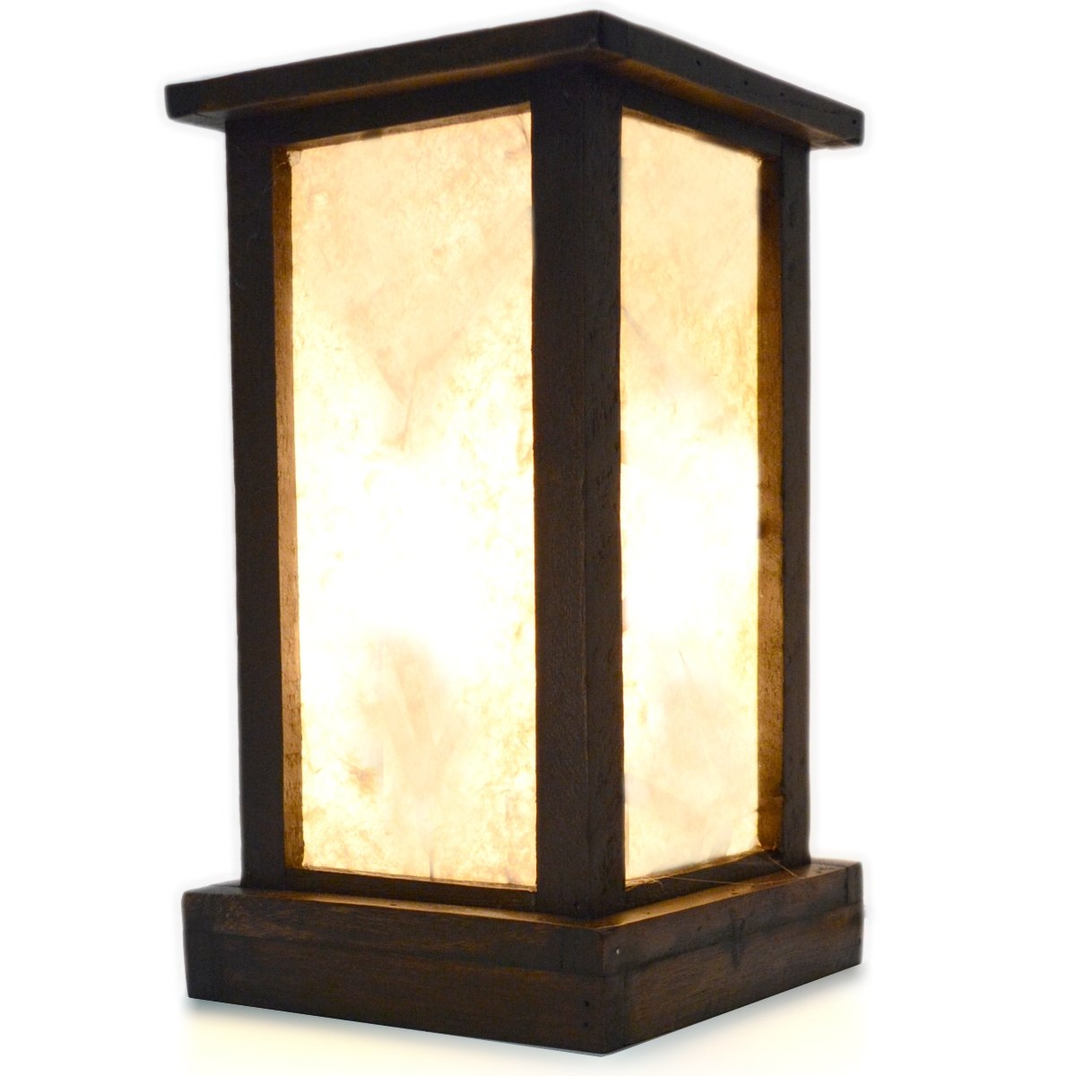 FAI Wood Frame and Paper Mache Shade Rustic Oriental Accent Table Lamp, 10.5 inch White Shade