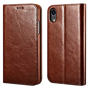 iPhone XR Wallet Case, iPhone XR Leather case ICARERCASE Premium PU Leather Folio Flip Cover with Kickstand and Credit Slots for Apple iPhone XR 6.1 Inch (Brown)