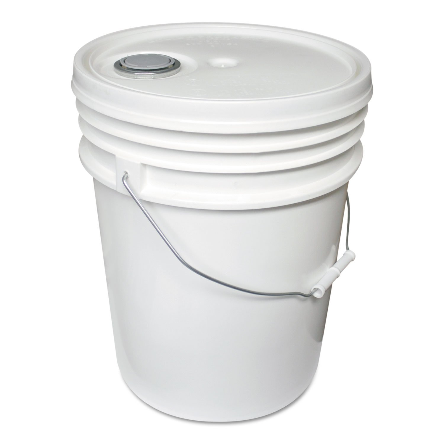 Impact 5515 Polyethylene Pail with Lid, 5 Gallon Capacity, 14-1/2'' Height x 1-1/4'' Depth, White (Case of 5)