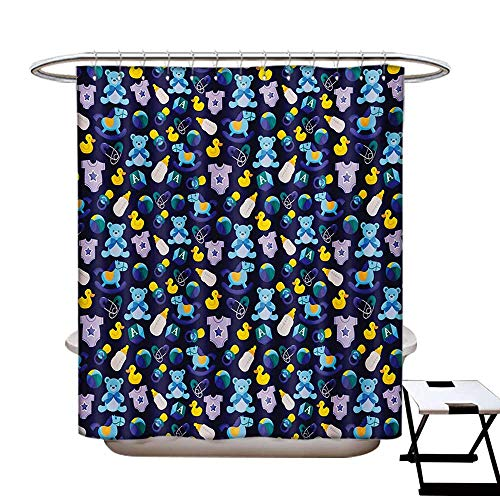 Nursery Shower Curtains Waterproof Children Toys Pattern with Rubber Duck Teddy Bear Beach Ball and Rocking Horse Fabric Bathroom Decor Set with Hooks W69 x L75 Multicolor