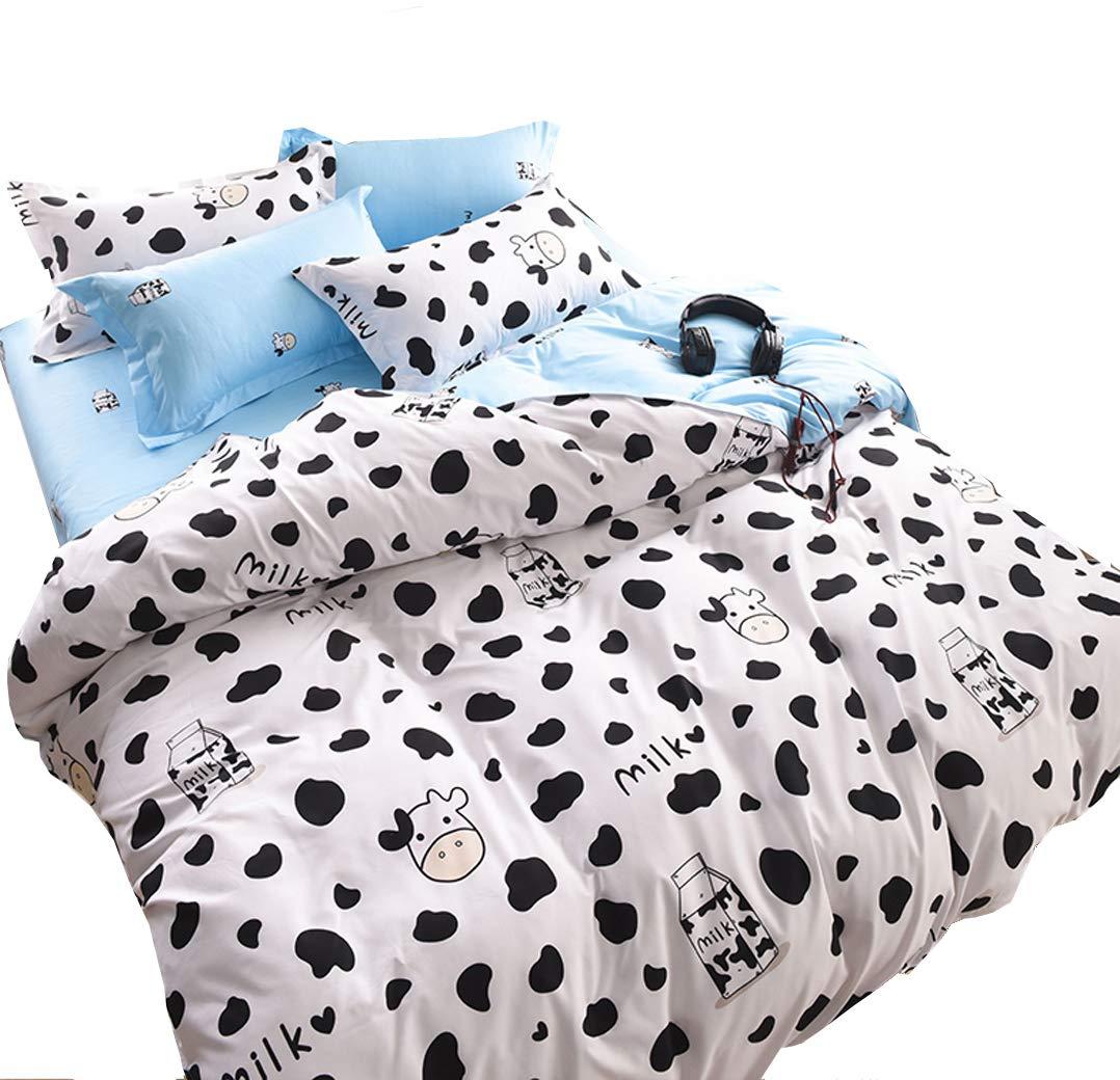 Nattey Cartoon Black Bedding Set Duvet Cover Quilt Cover Set Kids (Full, Black)
