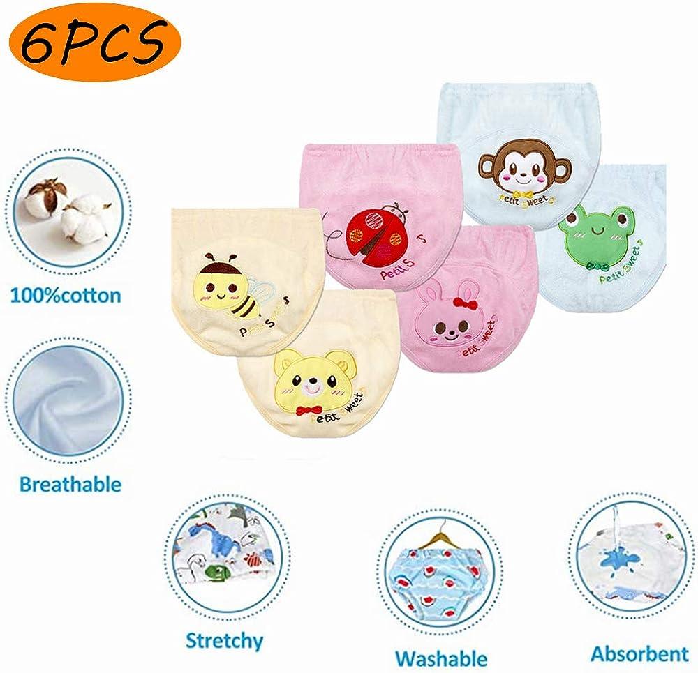 Morbuy Training Pants 6 Packs Cute Cartoon Soft Pants for Toddler Potty Training Anti Leakage Washable Baby Training Pants Boys and Girls