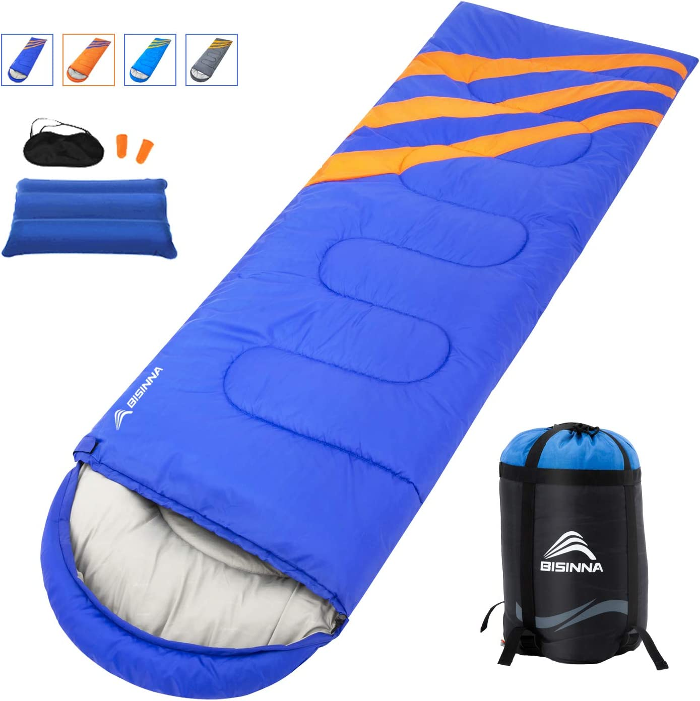 BISINNA Camping Sleeping Bag-3 Season Warm Cool Weather – Summer, Spring, Fall, Waterproof,Lightweight for Kids,Girls, Boys, Teens Adults-Great for Indoor Outdoor Use, Backpacking Hiking