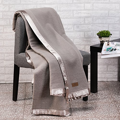 Spencer&whitney Quilt Blanket Wool Bed Blanket Large Wool Blanket Warm Soft Grey Blanket with Silk Satin Edges Bed Throw Blanket Blanket Throws ()