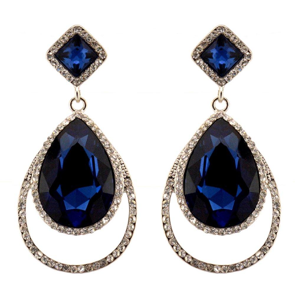 209-NAVY DARK BLUE Fashion Party & Wedding Jewelry Tear Drop Dangle Chandelier Alloy Rhinestone Earrings