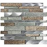MTO0206 Linear Bronze Brown Green Glossy Metallic Glass Metal Foil Mosaic Tile